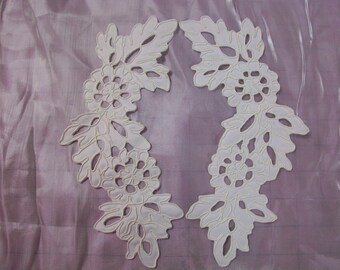 Lace Applique Ivory  Battenburg for bridal and craft, 1 pair