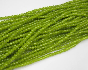 100 * 4mm Lime Green Round Glass Beads, Glass Beads, Lime Green Beads, Smooth Beads, Jewelry Supplies, Beading Supplies, Supplies