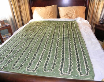 Green and Taupe afghan or blanket