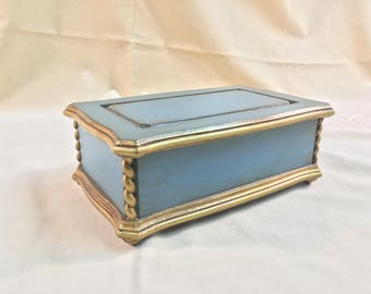 Teal and Gold Jewelry/Trinket Box