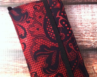 Red and black lace look print iPhone wallet case with removable gel case