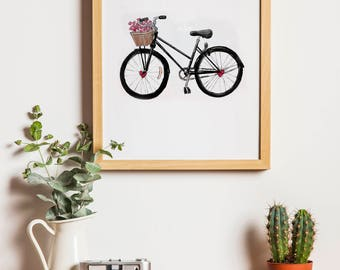 Love Bicycle (Valentine's Day) Digital Printable Wall Décor