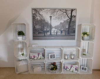 """Decorative white wooden crates """"shabby chic"""""""