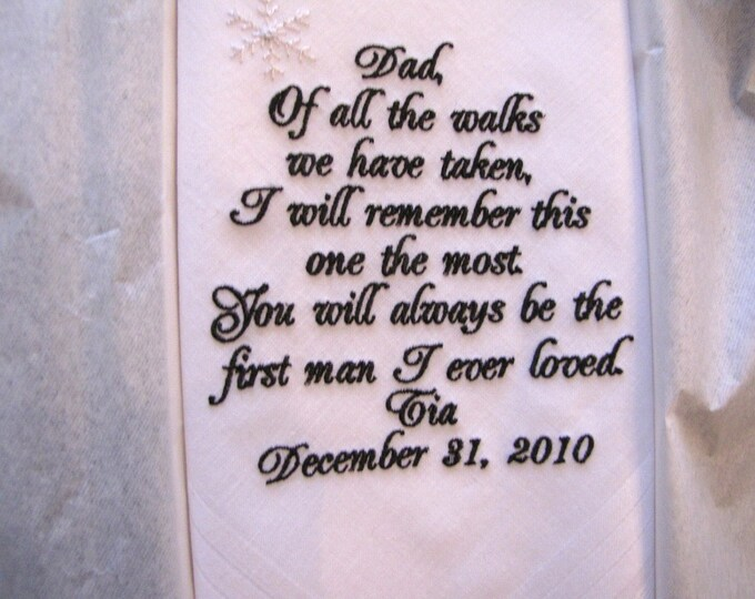Personalized Father of the Bride Wedding Handkerchief, Embroidered Handkerchiefs, Handkerchiefs for men, Dad Hankys, Gifts for Father, Dad