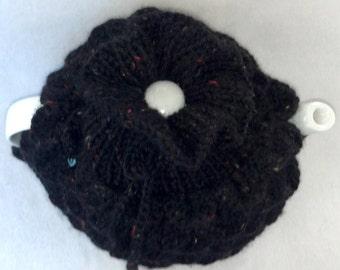 Wool Tea Pot Cozy - Teapot cozy crocodile stitch, size medium, in black speckle wool