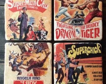 Vintage Kung Fu Poster Tile Set x4