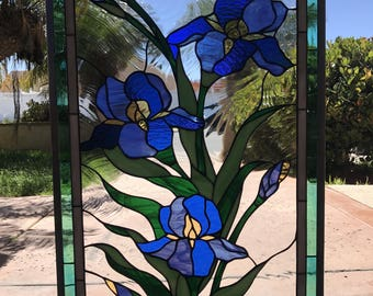 """The Elegant """"Iris trio"""" Stained Glass Window Panel  (We do custom work! Please email me for a quick quote)"""