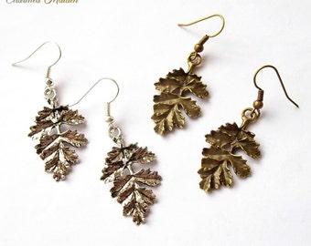 Oak Leaf Earrings, Pagan Earrings, Wiccan Earrings, Wicca Jewellery, Woodland, Leaf Drop Earrings, Antique Bronze or Silver Finish