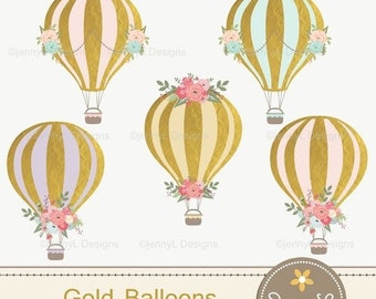 50% OFF Gold Hot Air Balloons Clipart for Wedding,  Pre-Nup, Birthday, Invitations, digital Scrapbooking, and more