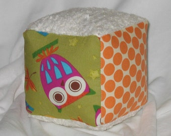 Cute Owls Fabric and Chenille Boutique Block Rattle - SALE