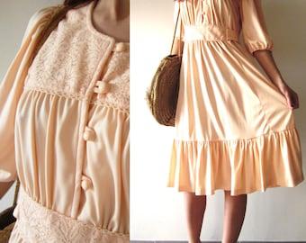 70s French VTG Hippie peach lace maxi dress Sz S/ M