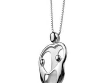 Mother and child family mohter and 2 children solid sterling silver 925 small pendant