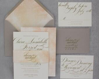 Watercolor Wedding Invitation, Brush Stroke Invitation, Calligraphy Wedding Invitation, Watercolour - Brush Stroke Invitation | Deposit