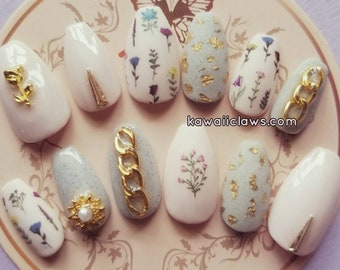 Nude & Stone with Gold, Matte, Floral Gel Nail Art