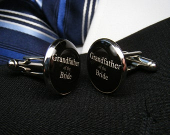 Grandfather of the Bride Cufflinks - Mens Accessories - Brides Grandpa - Weddings - Grandfather Cufflinks - Brides Grandad Wedding Cufflinks