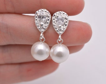 Pearl Bridal Earrings, Pearl and Rhinestone Wedding Earrings, Pearl and Crystal Earrings, Pearl Drop Earrings, Pearl Dangle Earrings 0257