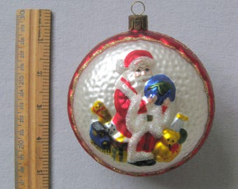 Vintage Large Glass Santa Claus Christmas Tree Red Glitter Double Sided Ornament Santas Workshop North Pole Decoration Bauble Ball 1980 1990