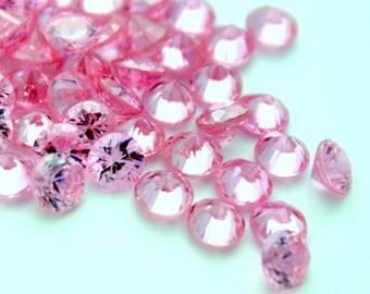 2 Pink Cubic Zirconia Round Stones - 5.25 mm