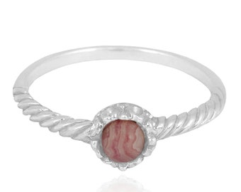 Rhodocrosite Sterling Silver Solitaire Ring