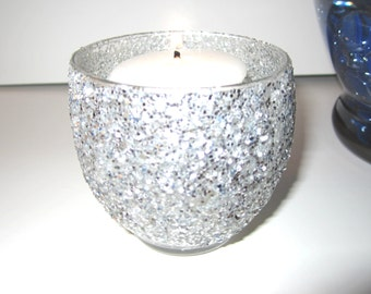 Votive Holders Silver Glitter Set of 2
