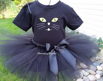 Girl Cat Costume  - Black Cat Tutu Outfit - Girl Black Cat Costume -  Baby Girl Halloween Costume - Halloween Costume Girl