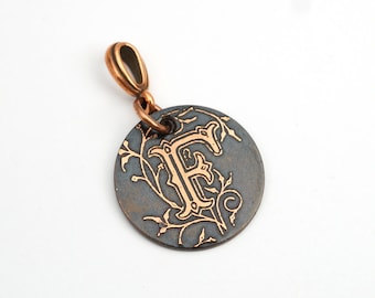 Small letter F pendant, round etched copper initial jewelry, optional necklace, 22mm