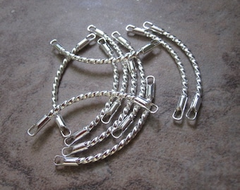 10 Links,silver-plated brass, 38x8mm twisted curve. JD214