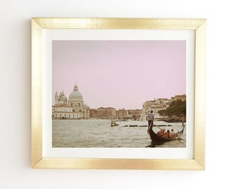 Pink Venice Art Print Ready-to-Hang Framed Wall Art, Venice Gondola Ride , Gold White Framed Print, Birthday Gift for Intrepid Travellers