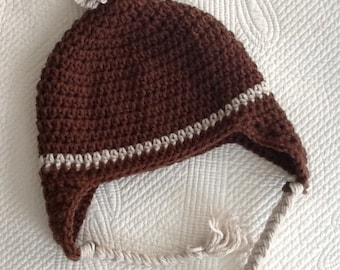Crochet Hat with Earflaps, Brown and Tan Hat, Crochet Hat with Pompon, Little Boy Hat, Stripe Baby Hat, Hat with Earflaps