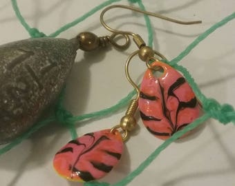 Pink Tiger Fishing Lure Earrings with Gold Plated Hooks
