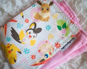 Baby Burp cloth - pink Pokemon hand dyed burp cloth