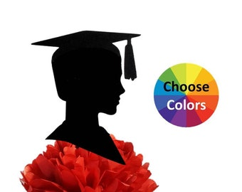 DIY Boy New Graduation Silhouette Centerpiece Pick Wall Party Decoration Party Supply 9 Inch Tall Pick School Colors From 20 Colors