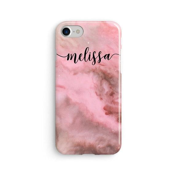 Custom name pink marble iPhone X case - iPhone 8 case - Samsung Galaxy S8 case - iPhone 7 case - Tough case 1P077