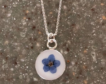 Forget Me Not Memorial Necklace, Cremation Jewelry