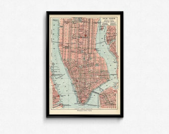 New York Manhattan map. Vintage New York map. Vintage Manhattan map. Wall art. Map art. New York print. New york poster. NYC map. Print.
