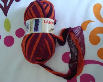 Love from Lanas Stop special yarn 100 g skein scarf needles 3.5 Orange Red