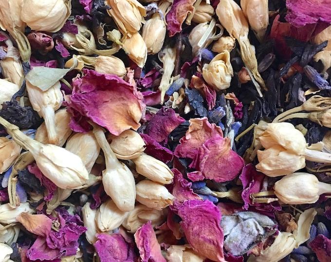 Jasmine Rose and Lavender Black Tea, Deluxe Floral Tea Blend, Floral, Cafe Tea, Organic Whole Leaf Tea, 4oz Tin