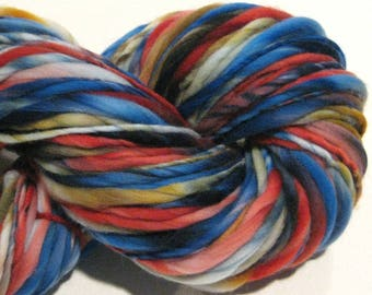 Bulky Handspun Yarn Abstract 154 yards hand dyed wool blue yarn, gold yarn, red yarn, waldorf doll hai,r knitting supplies, crochet supplies