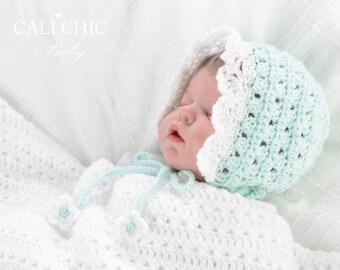 Baby Bonnet Pattern 441 - Angel Crochet Bonnet Pattern - Crochet Baby Bonnet Hat Pattern 441 - Instant Download