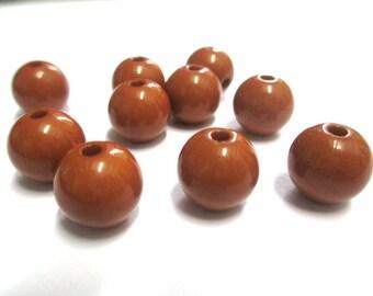 10 Brown 12mm acrylic beads