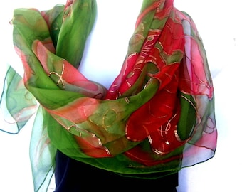 "Hand Painted Silk Scarf, Copper Burnt Orange May Green, Orchids Design, 35"" Square Floral Silk Chiffon Scarf, Gift For Her"