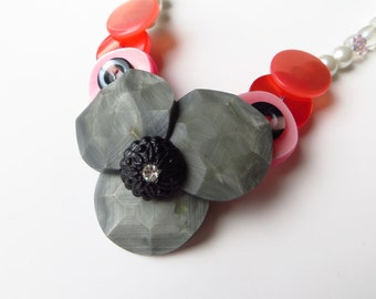 Pinkman     gray, white and pink vintage button necklace