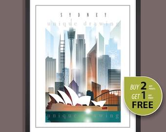 Sydney, City of Sydney, Sydney landmarks, Sydney skyline. Sydney city icons, Sydney painting, Sydney art, Sydney poster, Wall deco art, 4118