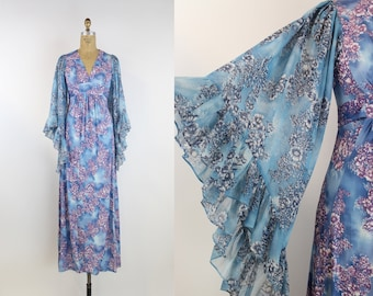 70s Bell Sleeves Printed Maxi Dress / Floral Blue Dress / Angel sleeve Dress / Boho Maxi dress / Dramatic Sleeves / Pink / Blue/ Size XS/S