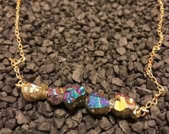 Natural Titanium Pyrite Gold Chain