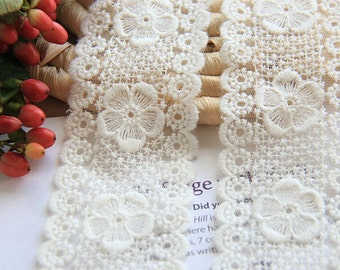 White Floral Lace Trim Hollowed Out Tulle Lace Trim 2.16 Inch Wide 2 Yards L098