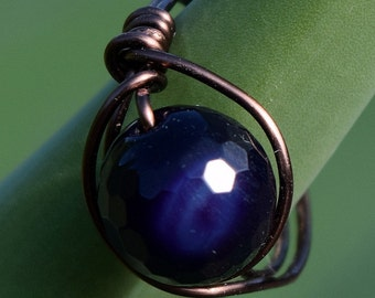 Wire Wrapped Ring, Antique Copper Ring, Faceted, Round Amethyst, Jewelry, Customizable, Wire Ring