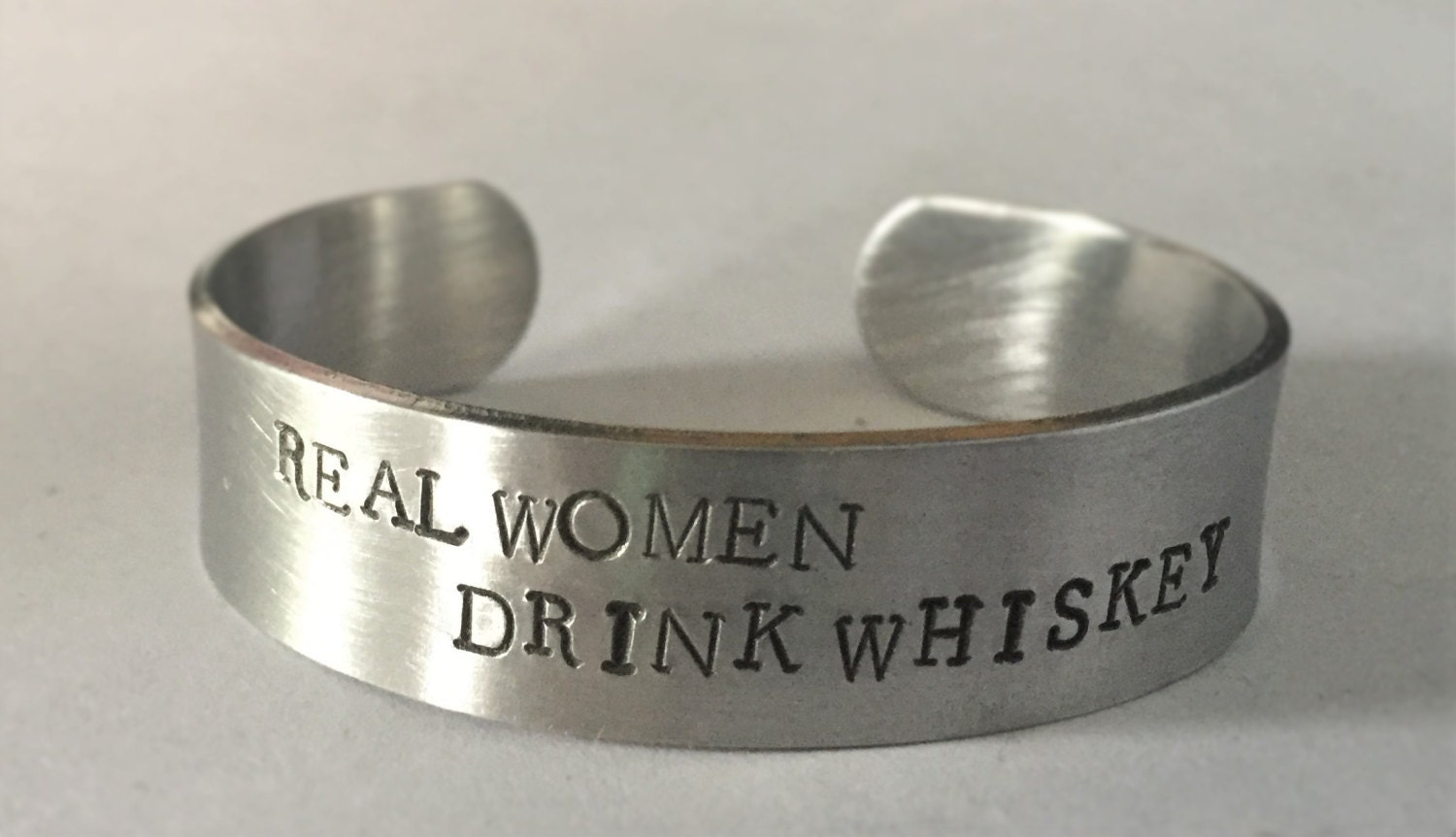 REAL WOMEN DRINK Whiskey, cuff bracelet, stamped bracelet, stamped jewelry, copper bracelet, real women, whiskey, bangle bracelet