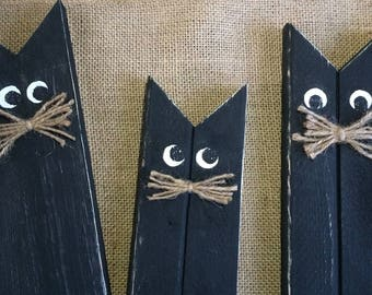 Black Cats, Halloween Decor, Wooden Cats, Primitive Halloween Decor, Rustic Halloween, Reclaimed Wood, Fall Decor, Wood Halloween Decoration