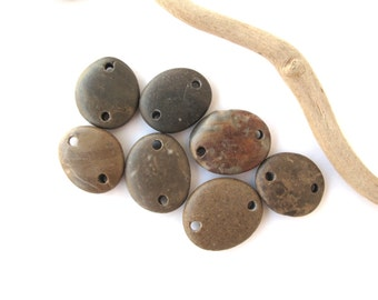 Rock Links Beach Stone Beads Double Drilled Mediterranean Natural Stone Beads Diy Jewelry Findings Pebble Connectors BROWN LINKS 20-22 mm